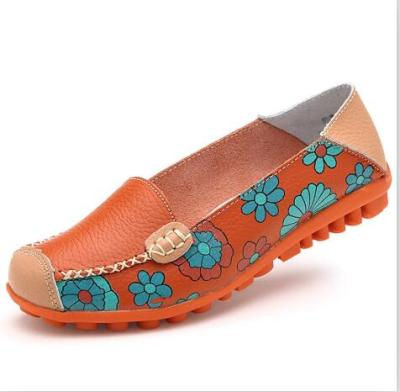 Flower Print Women Genuine Leather Loafer Flats