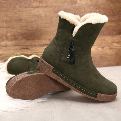 Suede Zipper Round Toe Snow Winter Casual Short Boots