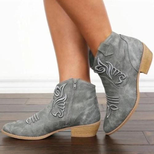 Chunky Low Heeled Round Toe Outdoor Short Ankle Boots