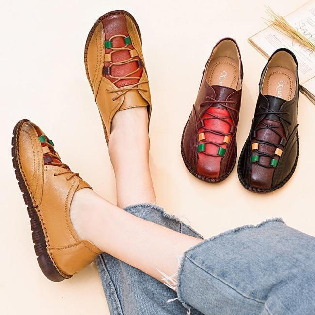 Women Patchwork Lace Up Single Shoes Leather Loafers