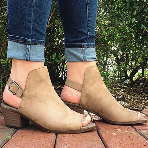 Plain Chunky Mid Heeled Velvet Peep Toe Outdoor Sandals