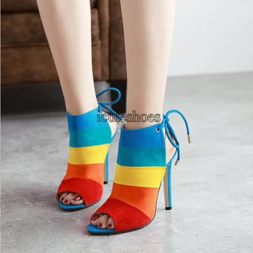 Women Shoes Cross Border High Heels Large Rainbow Color Matching Thin Heel Fish Mouth Sandals