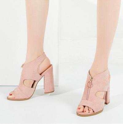 Plain Chunky High Heeled Velvet Peep Toe Casual Date Platform Sandals