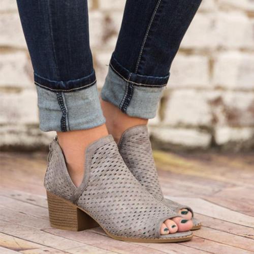 Pink Hollow Peep-toe Chunky Heels Fashion Sandals