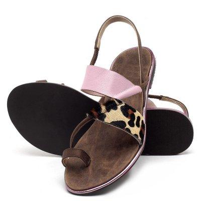 Summer New Bohemian Women's Sandals Flat Heel Elastic Flat Sole Women's Shoes Leopard Print