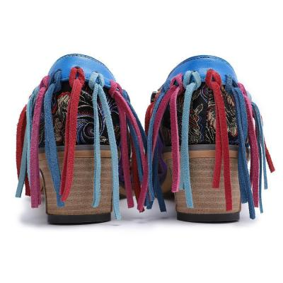 Vintage Pattern Print Fringe Back Medium Chunky Broque Shoes