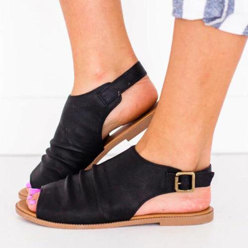 Women's Rome Style PU Peep Toe Adjustable Buckle Flat Sandals