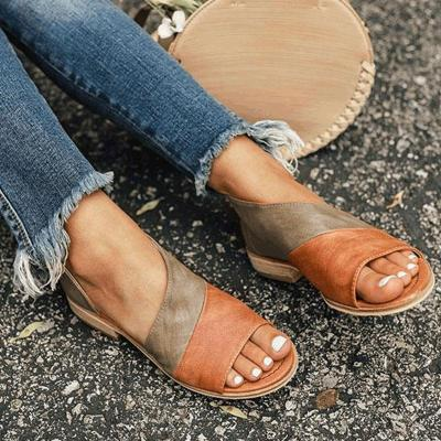 Women's PU Peep Toe Slip-On Flat Sandals