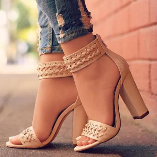 Woven lace-up chunky high heel sandals