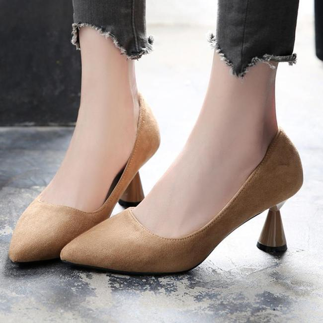 Middle Heel Suede Date Work Pointed Toe Shoes