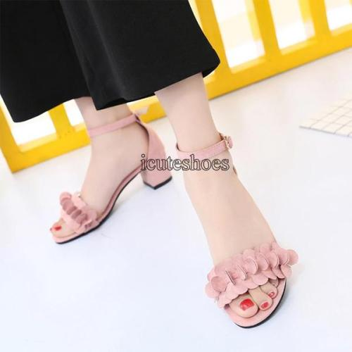 Summer New Fashion Solid Color Round Head Flowers One-word Open-toed Heeled Women's Sandals