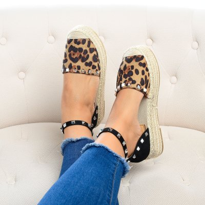 Beverly Studded Leopard Espadrille