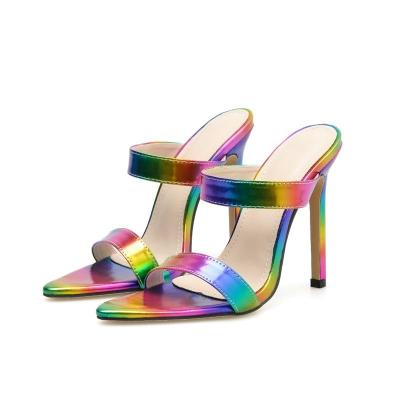 Rainbow High Heel Mule Shoes Rainbow Colored Shoes Sandals Slippers Women's Shoes