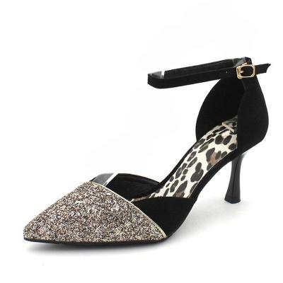 Suede Glitter Sequin Pointed Toe Heels