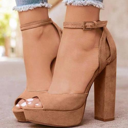 Buckle Chunky Heel Buckle Peep Toe Pumps