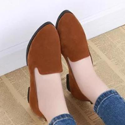 Plain  Low Heeled  Velvet  Point Toe  Casual Office Flat & Loafers