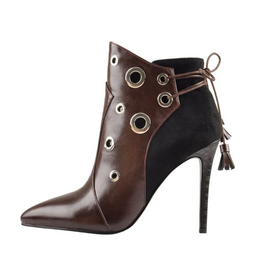 Fringe Pointed Toe Ankle Stilettos Lace Up Boots