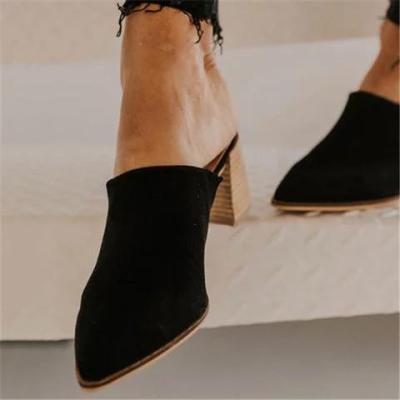 Chic Pointed Mule Chunky Heel Sandals
