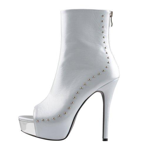 Lightcyan Peep Toe Platform Stiletto High Heel Rivet Ankle Boots