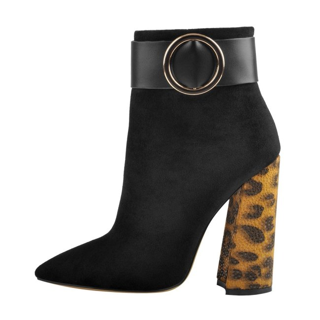 Leopard Chunky Heels Ring Buckle Pointed Toe Ankle Boots