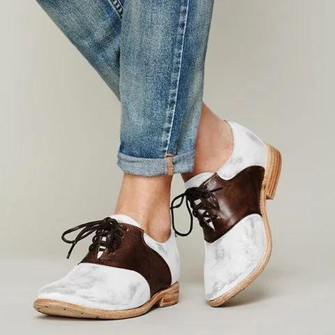 Casual Round Toed Plain Color Block Flat Shoes