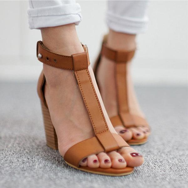Plain Chunky High Heeled Peep Toe Date Office Sandals