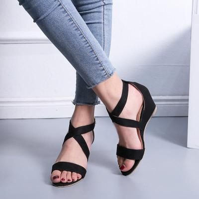 Cross-Band Open-Toe Ankle-Strap Low Wedges Sandals