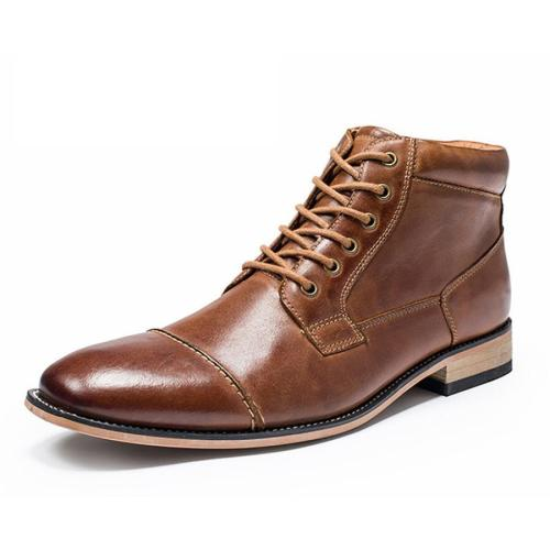Men's Leather Casual High-Top Belt Martin Men Boots