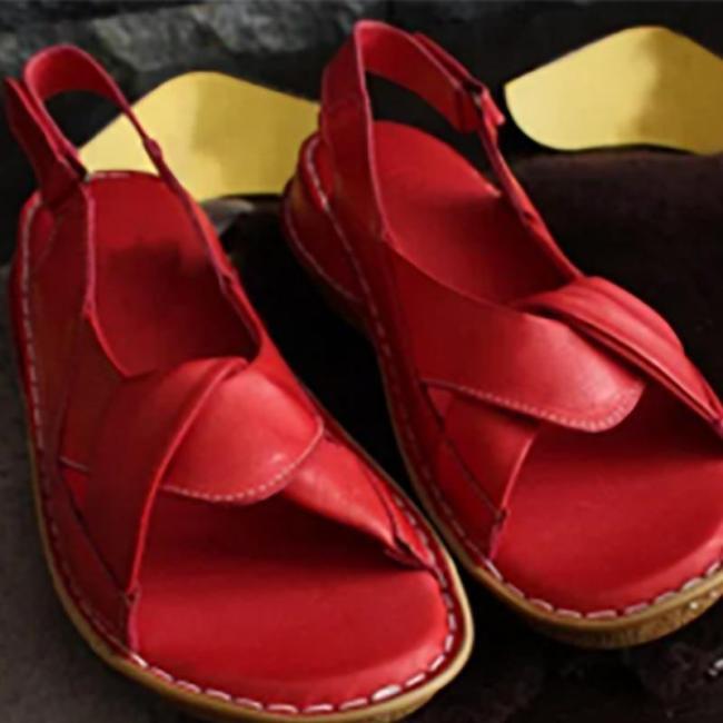 Solid Pu Interlace Hollow Hook&Loop Flat Sandals
