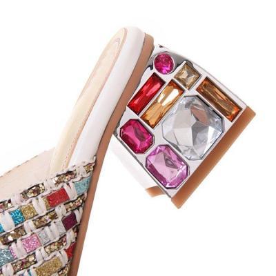 Rhinestone Chunky Heel Glitter Holiday Summer Sandals