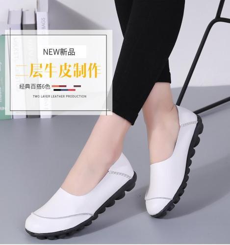Women Large Size Split Artificial Leather Flats Slip On Shoes