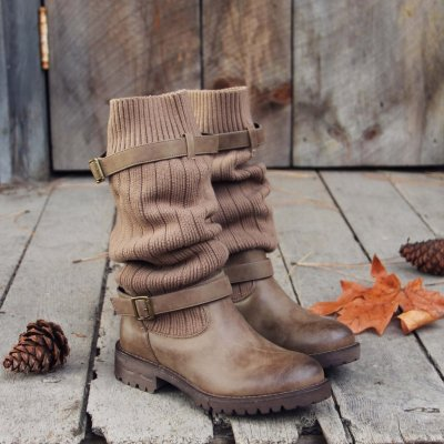 Comfy Cabin Sweater Boots Women Vintage PU Paneled Adjustable Buckle Casual Boots