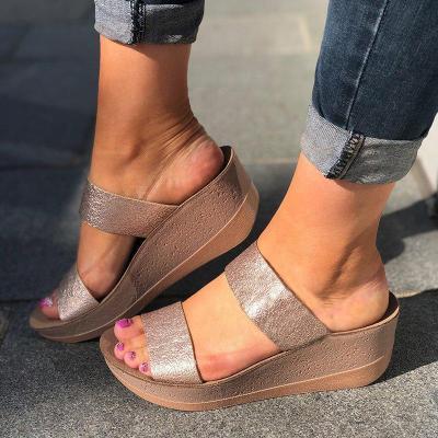 Women Ladies Slip On Sandal Shoes Open Toe Wedge Sandals