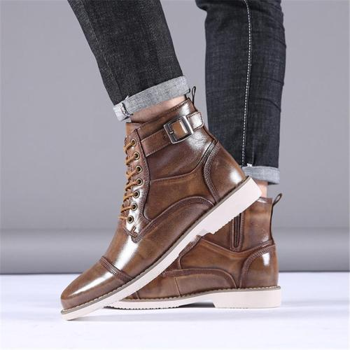 Men's Lace Belt Buckle Martin Men Boots