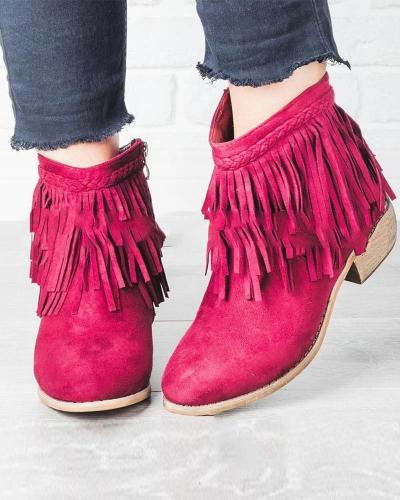 Solid Heeled Tassel Ankle Booties