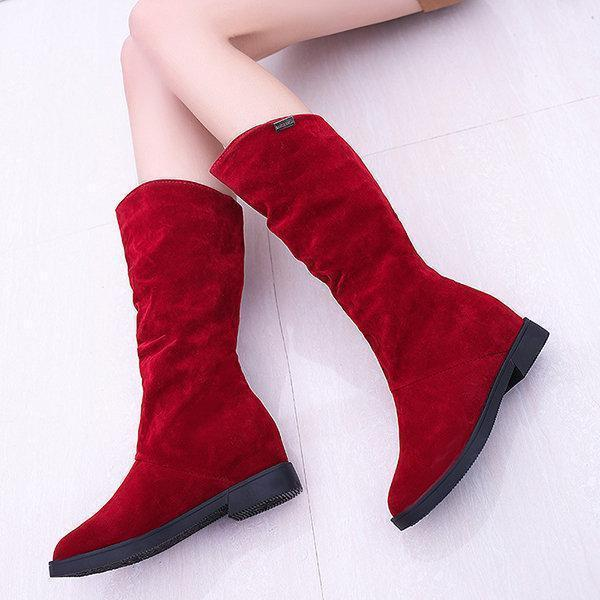 Warm Slip On Soft Suede Winter Mid-calf Boots For Women