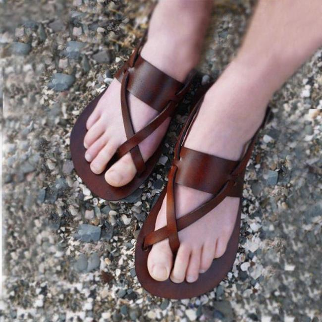 Women Casual Summer Flip-Flops Buckle Strap Leather Sandals
