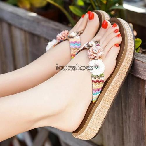 New Slope Heel Cool Slippers Female Summer Bohemian Anti-slip Vacation Outside Wearing Beach Shoes Woman