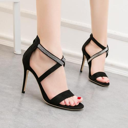 Fashion Sexy Women's Sandals with High Heels Suede Toe with Rhinestone Heels