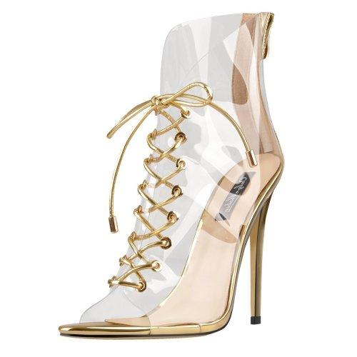 Open Toe Golden Lace up Transparent Zip Ankle Sandals Boots