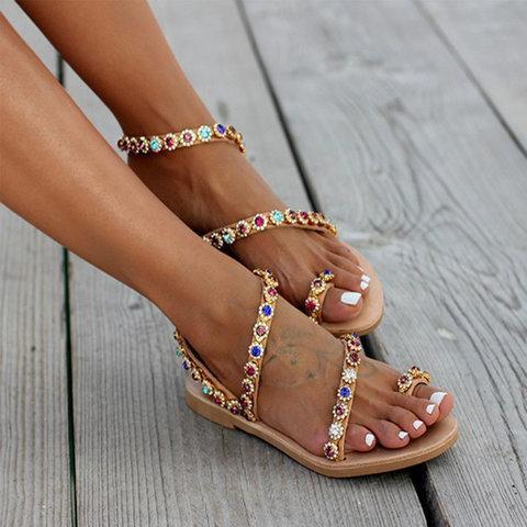 Boho Casual PU Flat Heel Summer Sandals