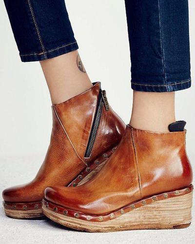 Solid Zipper Platform Ankle Bootie