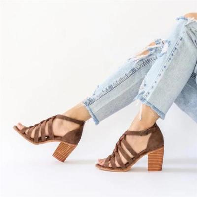 Plus Size Women Multi-Strap Heeled Sandals