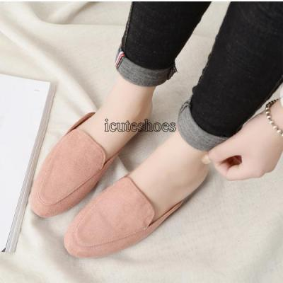 Flat-soled Slippers Women Lazy Outside Wearing Large Size Muller Shoes