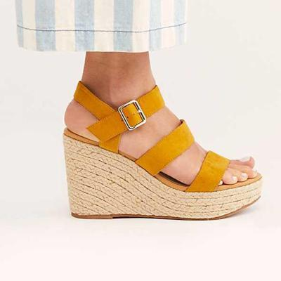 Strap Buckle Sky-High Wedges Sandals