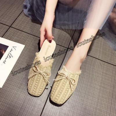 Bowknot hemp rope women wear flat bottom Korean slippers new cool solid color