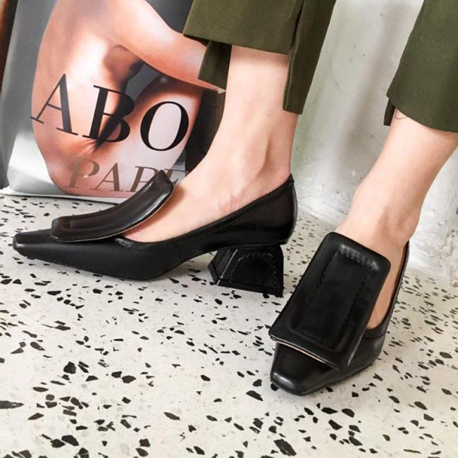 Chunky Heel Genuine Leather Square Toe Shoes