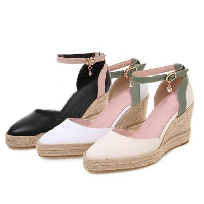 Summer Casual Wedge Adjustable Buckle  Pointed Toe Shoes