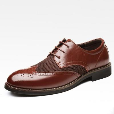 Mens Large Size Pointed Toe Breathable Brogue Shoes