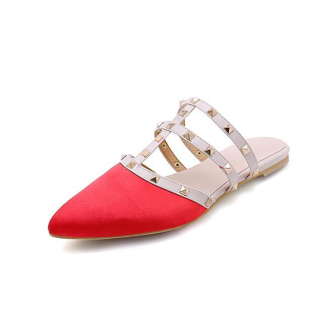 flat beach slippers outdoor rivet shoes for women size